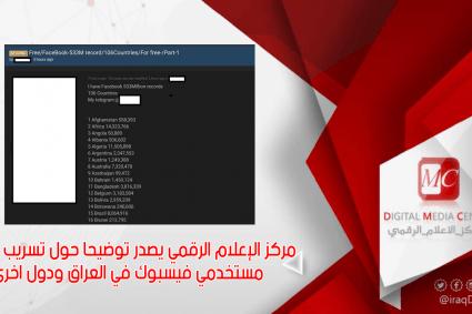 مركز الإعلام الرقمي يصدر توضيحا حول تسريب بيانات مستخدمي فيسبوك في العراق ودول اخرى